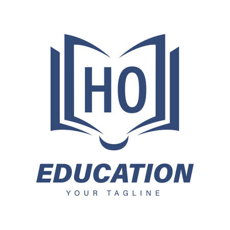 HO Letter Logo Design with Book Icons, Modern Education Logo Concept