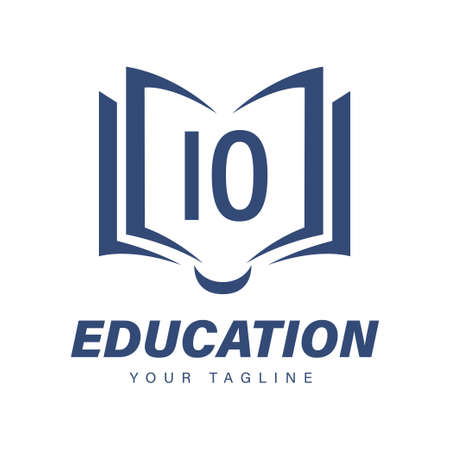 IO Letter Logo Design with Book Icons, Modern Education Logo Concept