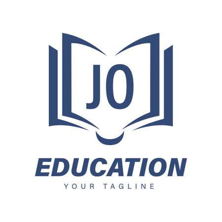 JO Letter Logo Design with Book Icons, Modern Education Logo Concept