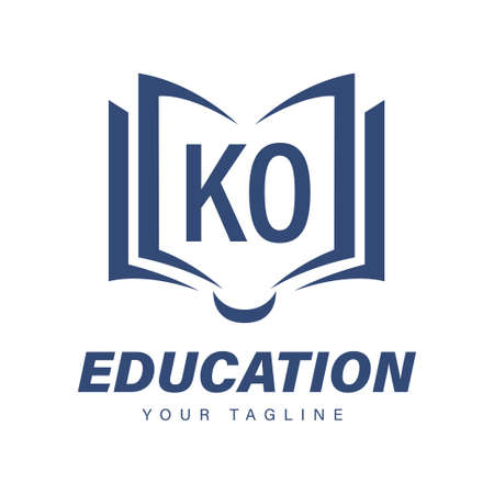 KO Letter Logo Design with Book Icons, Modern Education Logo Concept