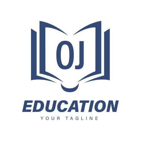 OJ Letter Logo Design with Book Icons, Modern Education Logo Concept