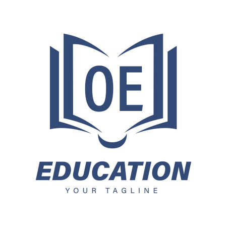 OE Letter Logo Design with Book Icons, Modern Education Logo Concept