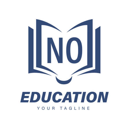 NO Letter Logo Design with Book Icons, Modern Education Logo Concept
