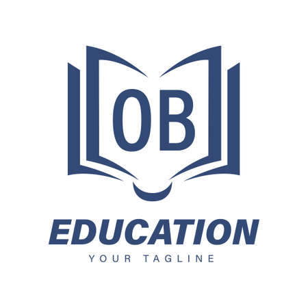 OB Letter Logo Design with Book Icons, Modern Education Logo Concept