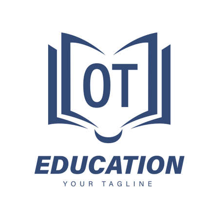 OT Letter Logo Design with Book Icons, Modern Education Logo Concept