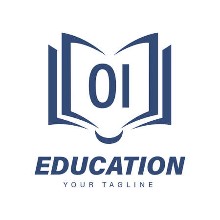 OI Letter Logo Design with Book Icons, Modern Education Logo Concept