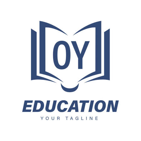 OY Letter Logo Design with Book Icons, Modern Education Logo Concept