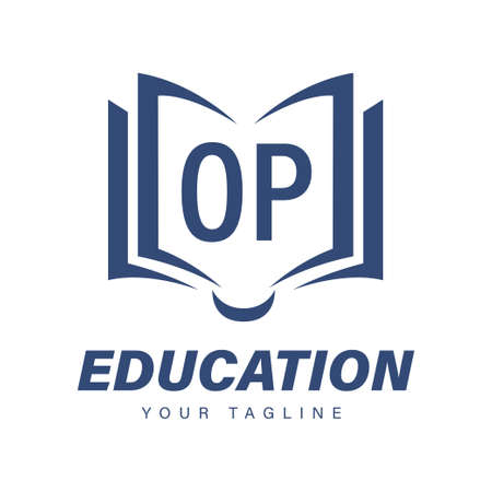 OP Letter Logo Design with Book Icons, Modern Education Logo Concept