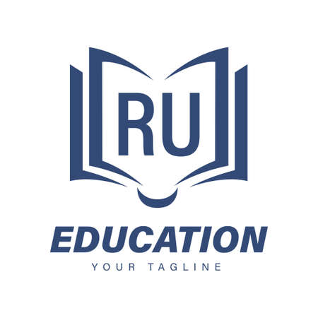 RU Letter Logo Design with Book Icons, Modern Education Logo Concept