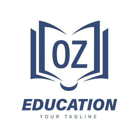 OZ Letter Logo Design with Book Icons, Modern Education Logo Concept