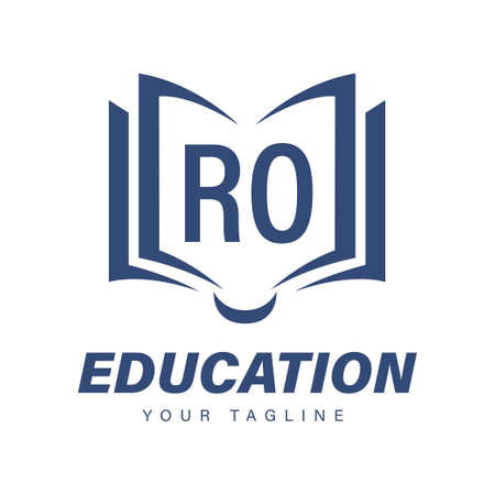 RO Letter Logo Design with Book Icons, Modern Education Logo Concept
