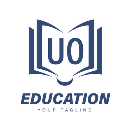 UO Letter Logo Design with Book Icons, Modern Education Logo Concept