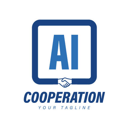 AI Letter Logo Design with Hand Shake Icon, Modern Cooperation Logo Concept