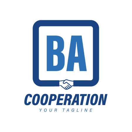 BA Letter Logo Design with Hand Shake Icon, Modern Cooperation Logo Concept