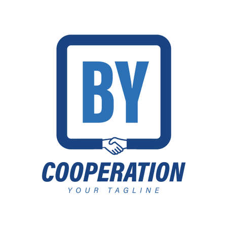 BY Letter Logo Design with Hand Shake Icon, Modern Cooperation Logo Concept