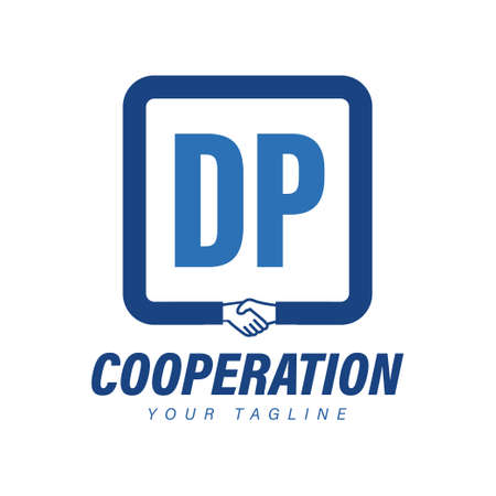 DP Letter Logo Design with Hand Shake Icon, Modern Cooperation Logo Concept