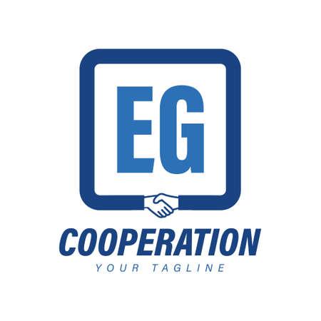 EG Letter Logo Design with Hand Shake Icon, Modern Cooperation Logo Concept Logó