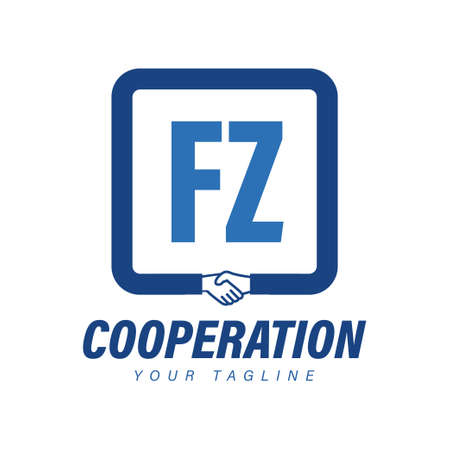 FZ Letter Logo Design with Hand Shake Icon, Modern Cooperation Logo Concept