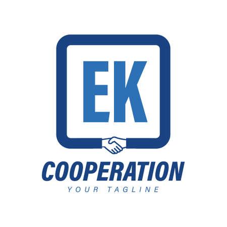 EK Letter Logo Design with Hand Shake Icon, Modern Cooperation Logo Concept