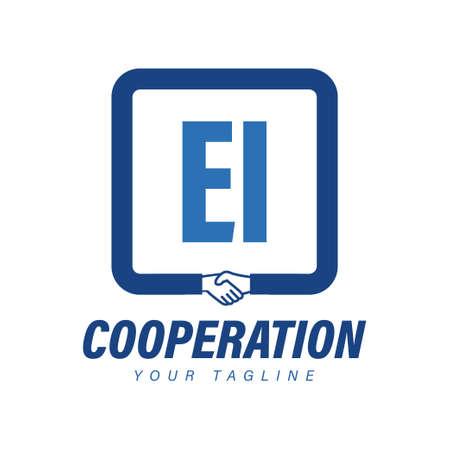 EI Letter Logo Design with Hand Shake Icon, Modern Cooperation Logo Concept