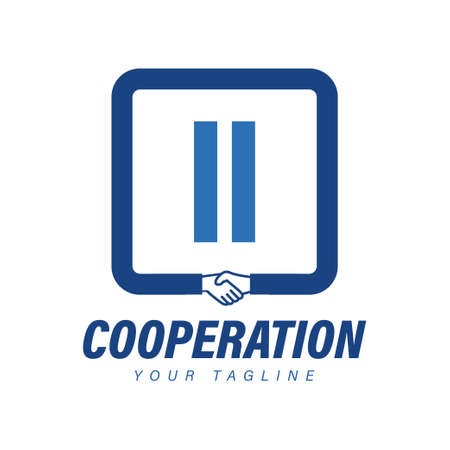 II Letter Logo Design with Hand Shake Icon, Modern Cooperation Logo Concept