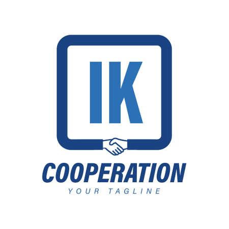 IK Letter Logo Design with Hand Shake Icon, Modern Cooperation Logo Concept