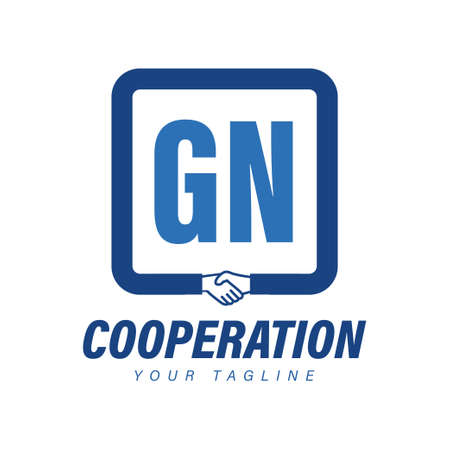 GN Letter Logo Design with Hand Shake Icon, Modern Cooperation Logo Concept