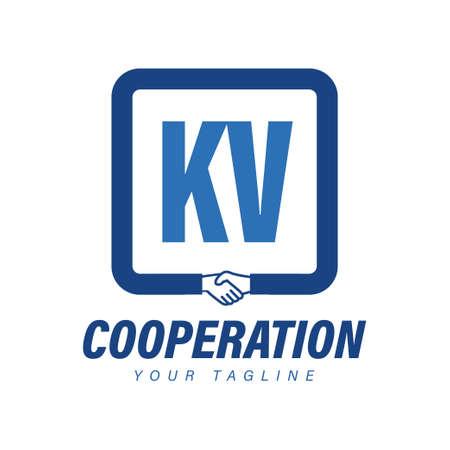 KV Letter Logo Design with Hand Shake Icon, Modern Cooperation Logo Concept Logó