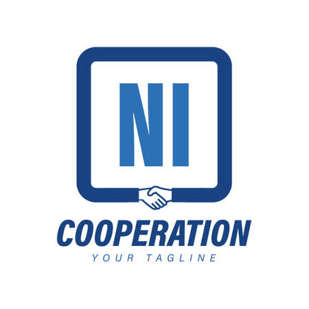 NI Letter Logo Design with Hand Shake Icon, Modern Cooperation Logo Concept