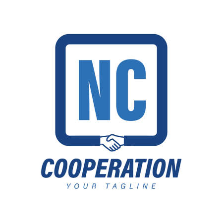 NC Letter Logo Design with Hand Shake Icon, Modern Cooperation Logo Concept