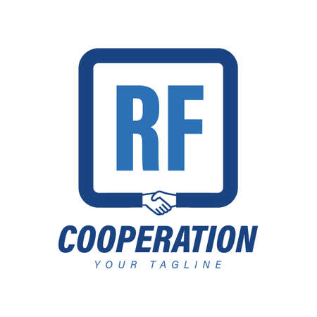 RF Letter Logo Design with Hand Shake Icon, Modern Cooperation Logo Concept