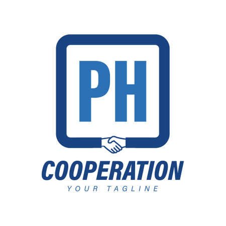 PH Letter Logo Design with Hand Shake Icon, Modern Cooperation Logo Concept