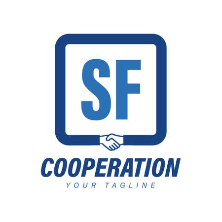 SF Letter Logo Design with Hand Shake Icon, Modern Cooperation Logo Concept Logó