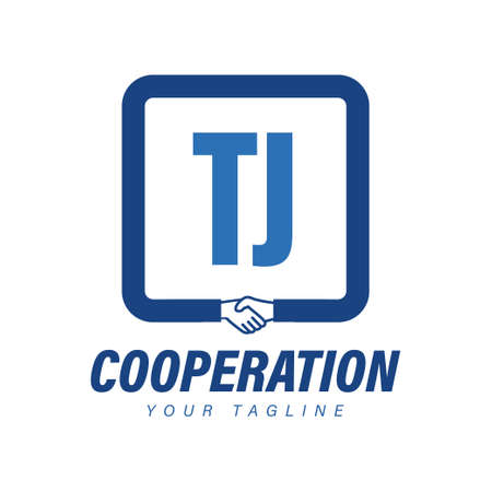 TJ Letter Logo Design with Hand Shake Icon, Modern Cooperation Logo Concept