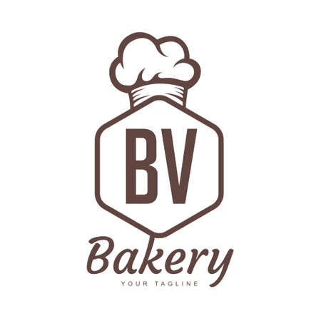 BV Letter Logo Design with Chef Icon, Bakery Logo Concept