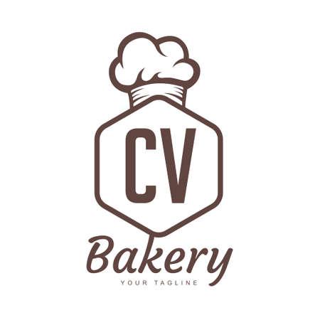 CV Letter Logo Design with Chef Icon, Bakery Logo Concept