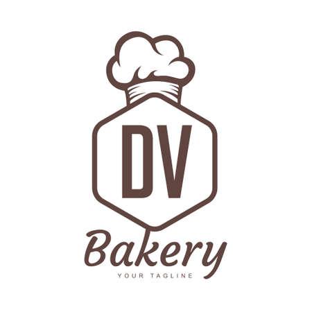 DV Letter Logo Design with Chef Icon, Bakery Logo Concept