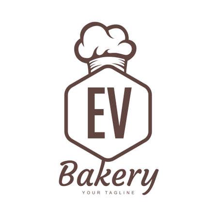 EV Letter Logo Design with Chef Icon, Bakery Logo Concept