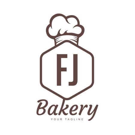 FJ Letter Logo Design with Chef Icon, Bakery Logo Concept