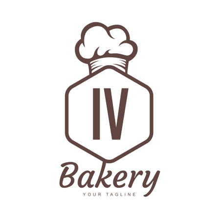 IV Letter Logo Design with Chef Icon, Bakery Logo Concept