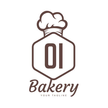 OI Letter Logo Design with Chef Icon, Bakery Logo Concept