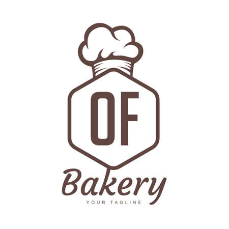 OF Letter Logo Design with Chef Icon, Bakery Logo Concept