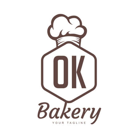 OK Letter Logo Design with Chef Icon, Bakery Logo Concept