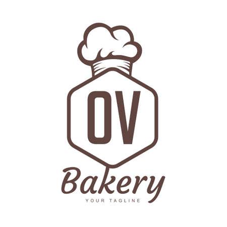 OV Letter Logo Design with Chef Icon, Bakery Logo Concept