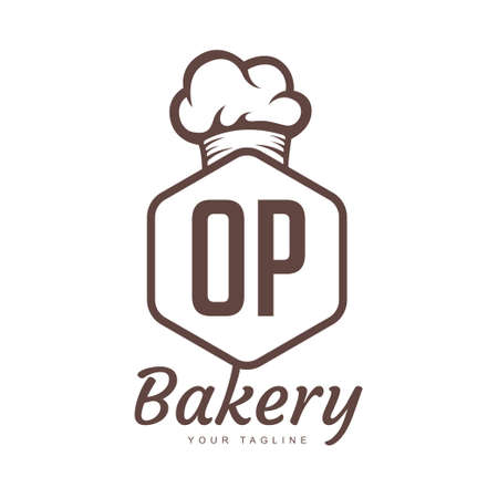 OP Letter Logo Design with Chef Icon, Bakery Logo Concept