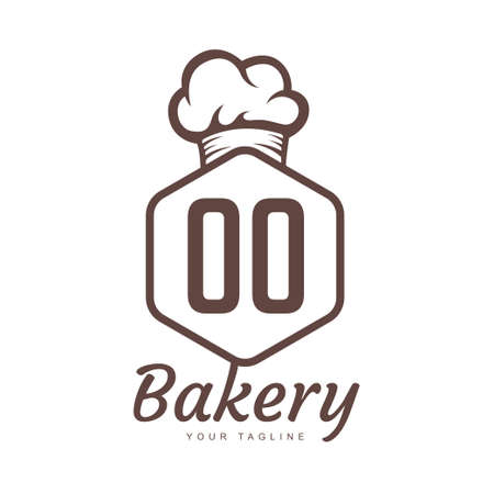 OO Letter Logo Design with Chef Icon, Bakery Logo Concept