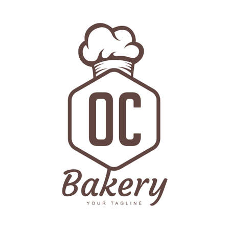 OC Letter Logo Design with Chef Icon, Bakery Logo Concept