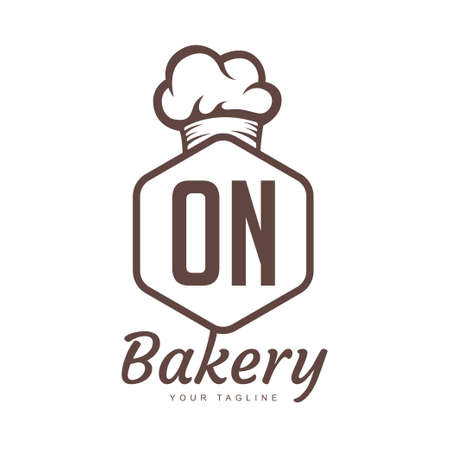 ON Letter Logo Design with Chef Icon, Bakery Logo Concept