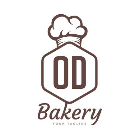 OD Letter Logo Design with Chef Icon, Bakery Logo Concept
