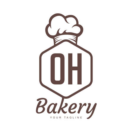 OH Letter Logo Design with Chef Icon, Bakery Logo Concept